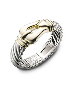 David Yurman - Sterling Silver & 18K Yellow Gold Buckle Bracelet