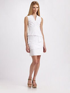 BCBGMAXAZRIA - Pleated Stretch Cotton Blend Dress