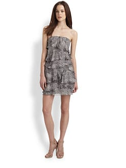 BCBGMAXAZRIA - Printed Strapless Dress