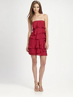 BCBGMAXAZRIA - Ginger Strapless Ruffled Silk Dress