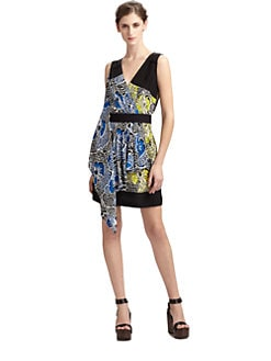 BCBGMAXAZRIA - Floral Silk Asymmetrical Wrap Dress