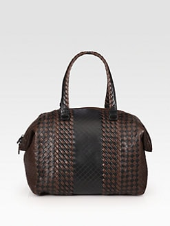 Bottega Veneta - Two-Tone Woven Top Handle Bag