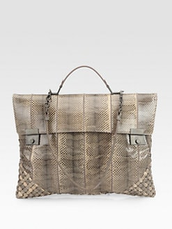 Bottega Veneta - Ayrs Snakeskin Large Top Handle Bag
