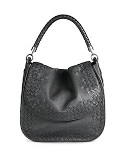 Bottega Veneta - Medium Woven Leather Flap Top Shoulder Bag