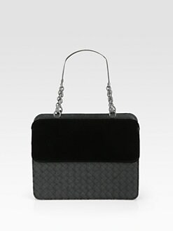 Bottega Veneta - Small Woven Leather & Velvet Top-Handle Bag