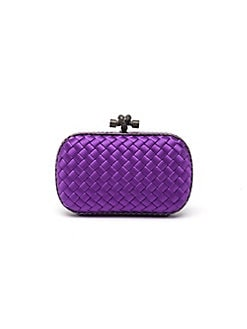 Bottega Veneta - Python Accented Woven Mini Knot Clutch