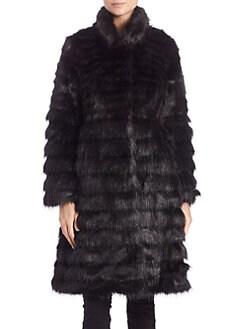 Donna Salyers for Saks Fifth Avenue - Horizontal Faux Fur Coat