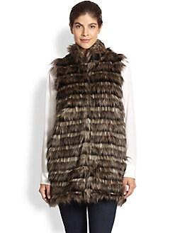 Donna Salyers for Saks Fifth Avenue - Horizontal Faux Fur Vest