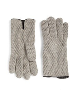 Portolano - Honeycomb Stitched Cashmere Gloves