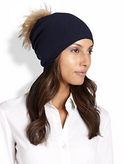Portolano - Honeycomb Stitched Fur Pom-Pom Hat