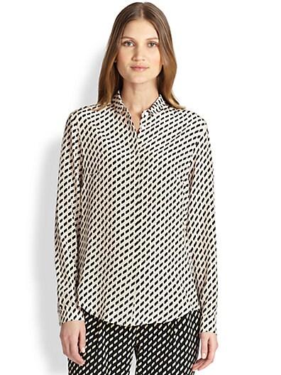 Silk Printed Button-Front Shirt