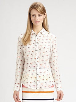 Weekend MaxMara - Silk Trau Flamingo-Print Blouse