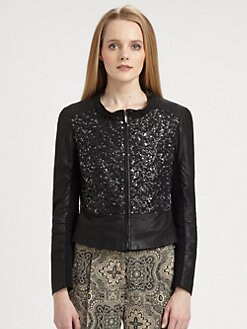 Weekend MaxMara - Embellished Leather Jacket