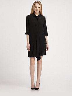 Weekend MaxMara - Drape-Front Silk Shirtdress