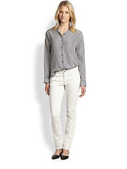 Weekend MaxMara - Anta Silk Striped Button-Front Shirt