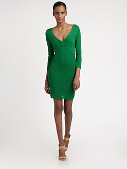 Catherine Malandrino - V-Neck Mixed-Pointelle Dress