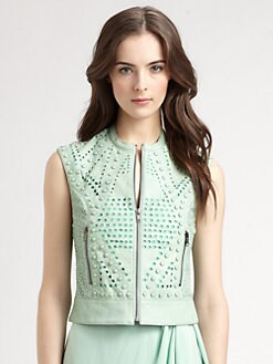 Catherine Malandrino - Studded Perforated-Leather Vest