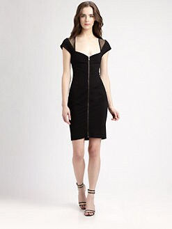 Catherine Malandrino - Cap-Sleeve Zip-Front Dress
