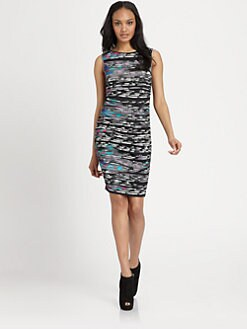 Catherine Malandrino - Printed/Ruched Jersey Dress