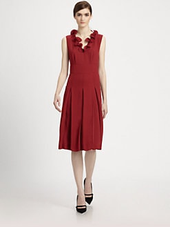 Marc Jacobs - Pleated Ruffle Neck Dress