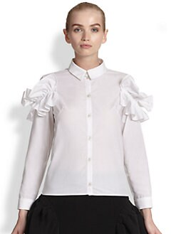 Simone Rocha - Poplin Ruched-Shoulder Shirt