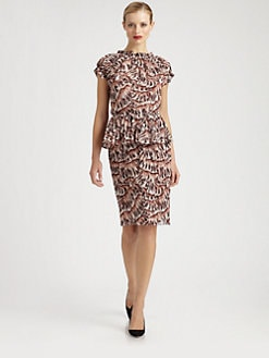 Bottega Veneta - Printed Silk Peplum Dress