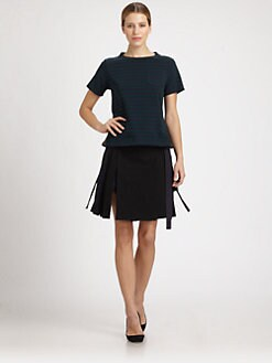 Sacai - Striped Peplum Tee