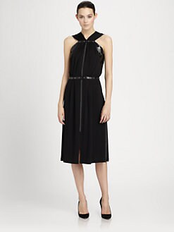 Bottega Veneta - Studded Snakeskin Inset Dress