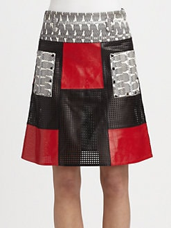Proenza Schouler - Leather & Snakeskin Patchwork Skirt