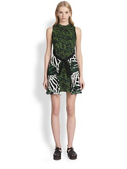 Proenza Schouler - Mixed-Print Tie-Front Dress