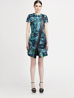 Proenza Schouler - Leather-Trimmed Jacquard Dress
