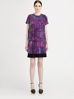 Proenza Schouler - Silk Paneled Printed Drop-Waist Dress