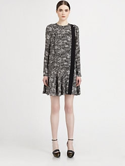 Proenza Schouler - Silk Printed Drop-Waist Dress