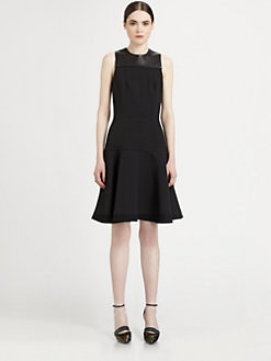 Proenza Schouler - Leather-Paneled Crepe Dress