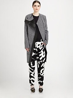 Proenza Schouler - Asymmetrical Leather-Trimmed Tweed Coat