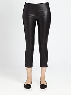 The Row - Nojac Cropped Leather Skinny Pants