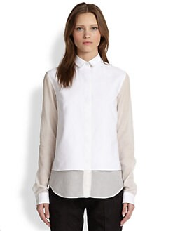 The Row - Jaggy Sheer-Paneled Cotton & Silk Tuxedo Shirt