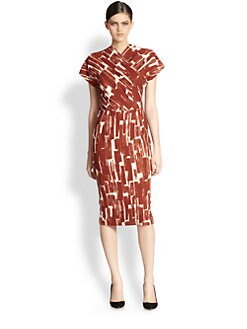 Bottega Veneta - Printed Wool Crepe Wrap-Effect Dress