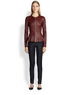 The Row - Bonded-Lambskin Peplum Jacket