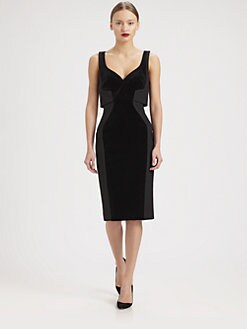 Antonio Berardi - Velvet-Paneled Colorblock Dress