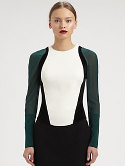 Antonio Berardi - Sheer-Sleeved Colorblock Top