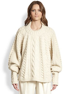 The Row - Wool & Cashmere Cable-Knit Blouson Sweater
