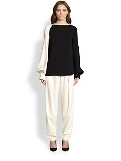 The Row - Ilario Colorblock Blouson-Sleeved Top