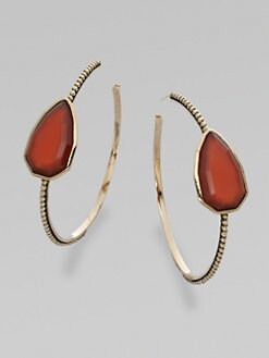 Stephen Dweck - Red Agate Hoop Earrings/2