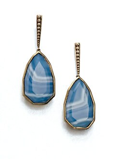 Stephen Dweck - Blue Agate & Bronze Drop Earrings