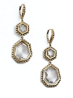 Stephen Dweck - Rock Crystal & Bronze Drop Earrings