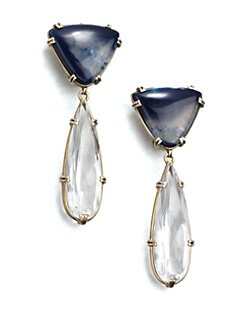Stephen Dweck - Blue Agate & Rock Crystal Clip-On Drop Earrings