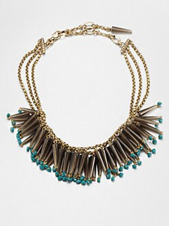 Stephen Dweck - Smoky Topaz & Turquoise Bib Necklace