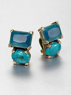 Stephen Dweck - Blue Agate & Turquoise Clip-On Earrings