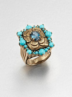 Stephen Dweck - Turquoise & Blue Topaz Floral Ring